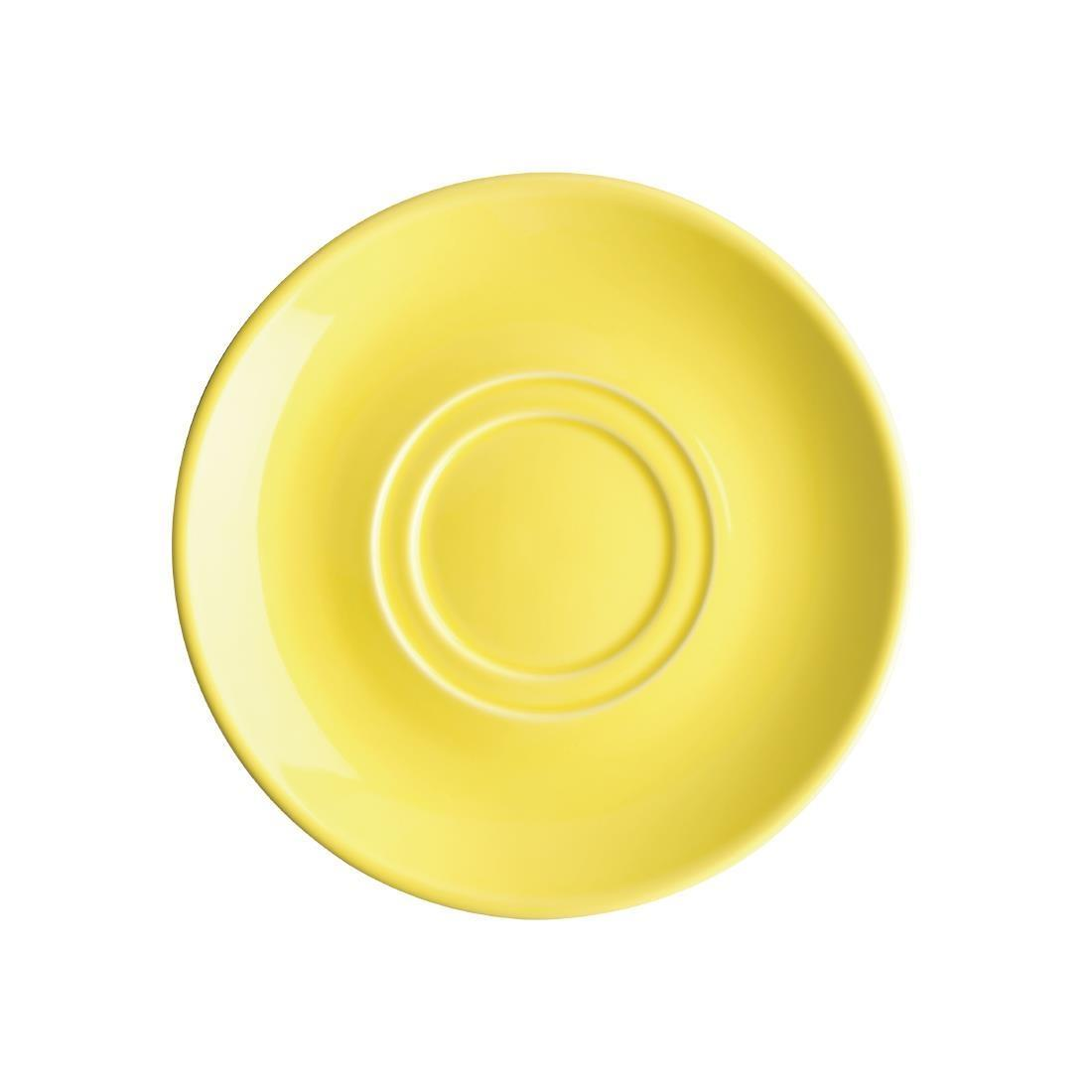 Olympia Heritage Double Well Saucers Yellow 163mm