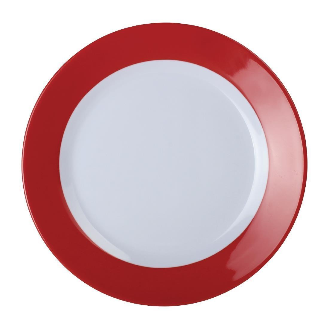 Kristallon Gala Colour Rim Melamine Plate Red 230mm - Case 6 - DE601