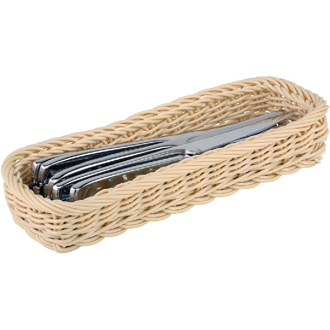 APS Polypropylene Rectangular Rattan Basket - Each - CF301