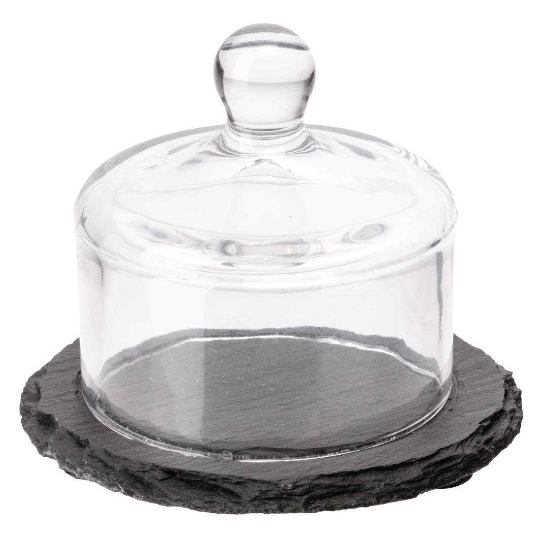 APS Slate Butter Dish Glass Cloche - Each - GH408