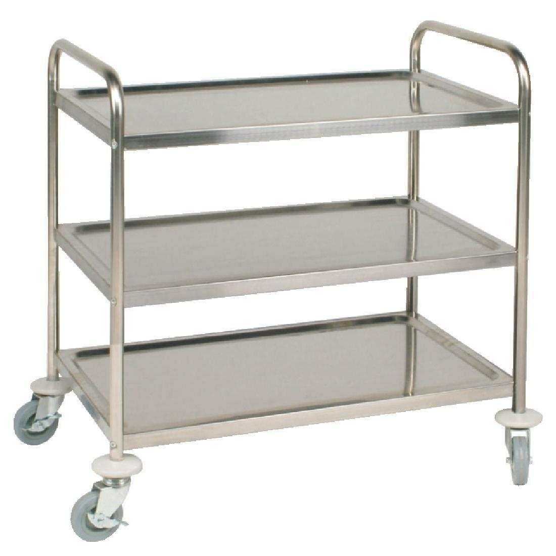 Vogue Stainless Steel 3 Tier Clearing Trolley Medium - Each - F994
