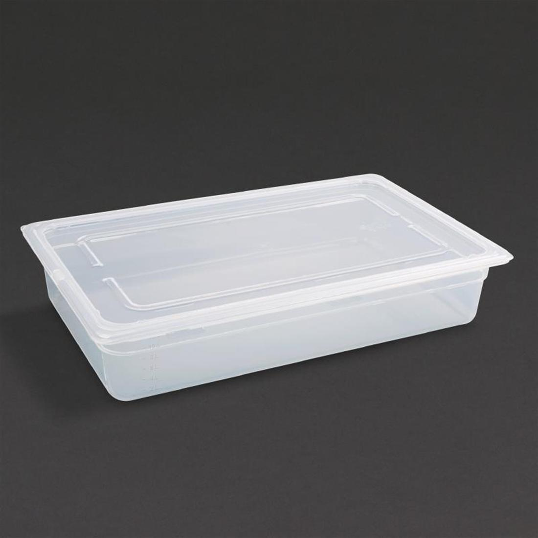 Vogue Polypropylene 1/1 Gastronorm Container with Lid 100mm - Pack of 2 - GJ511