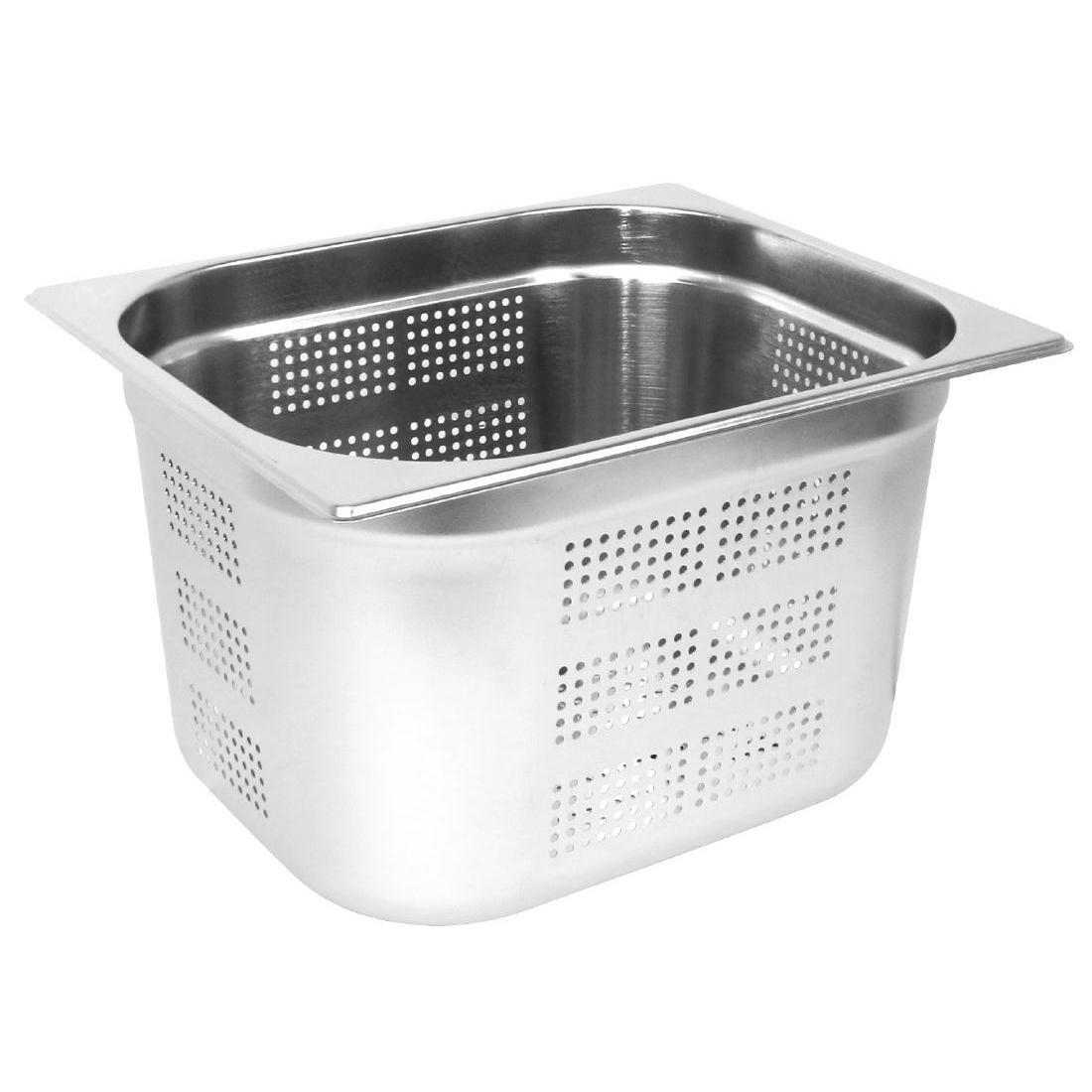 Vogue Stainless Steel Perforated 1/2 Gastronorm Pan 200mm - Each - GM319