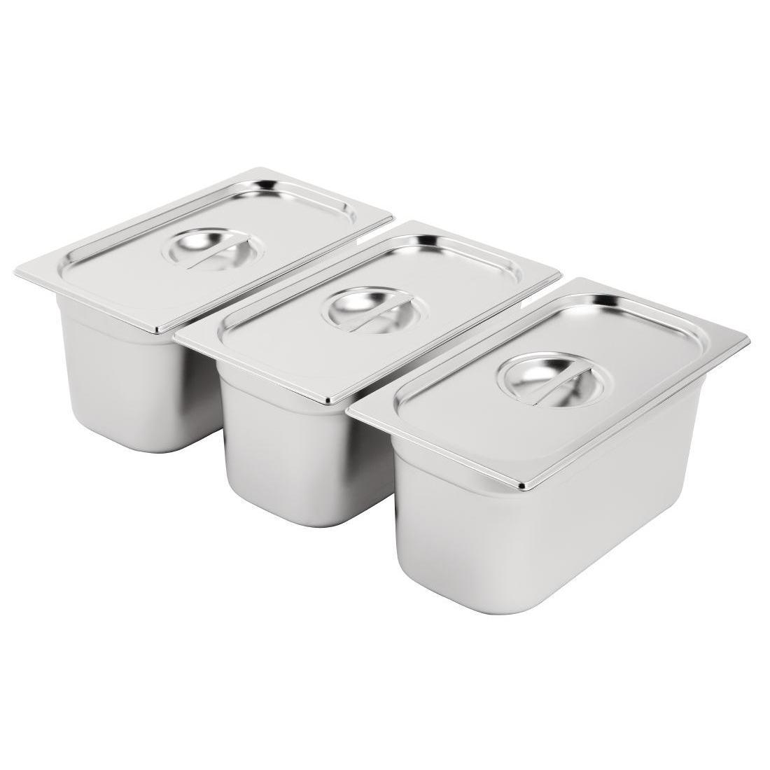 Vogue Stainless Steel Gastronorm Pan Set 3 x 1/3 with Lids - SA242