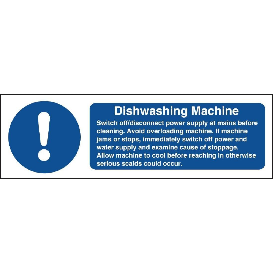 Vogue Dishwasher Machine Safety Sign - W199