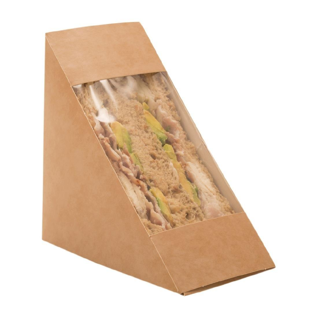 Colpac Recyclable Kraft Front-Loading Sandwich Wedges With PLA Window
