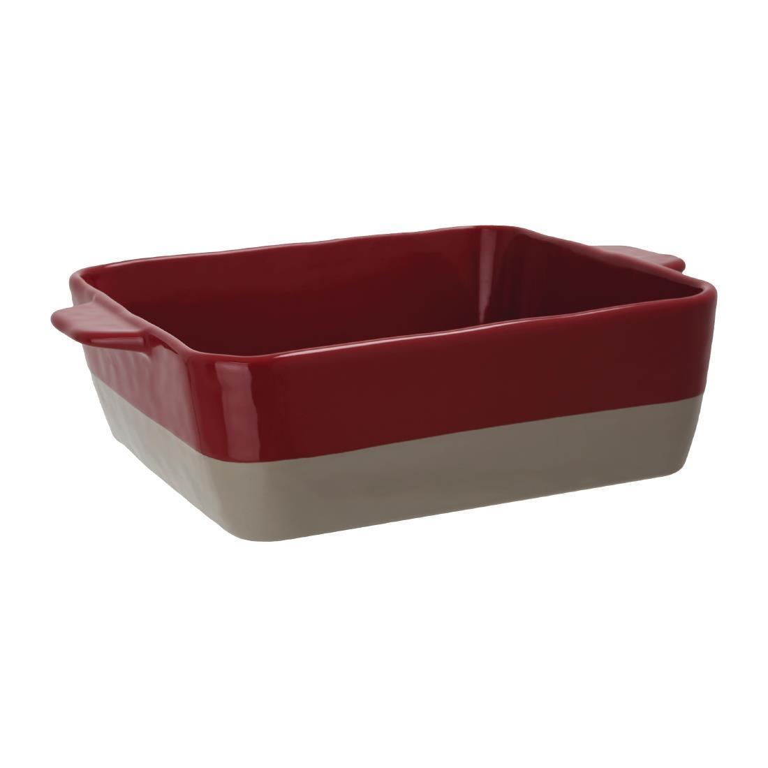Olympia Red And Taupe Ceramic Roasting Dish