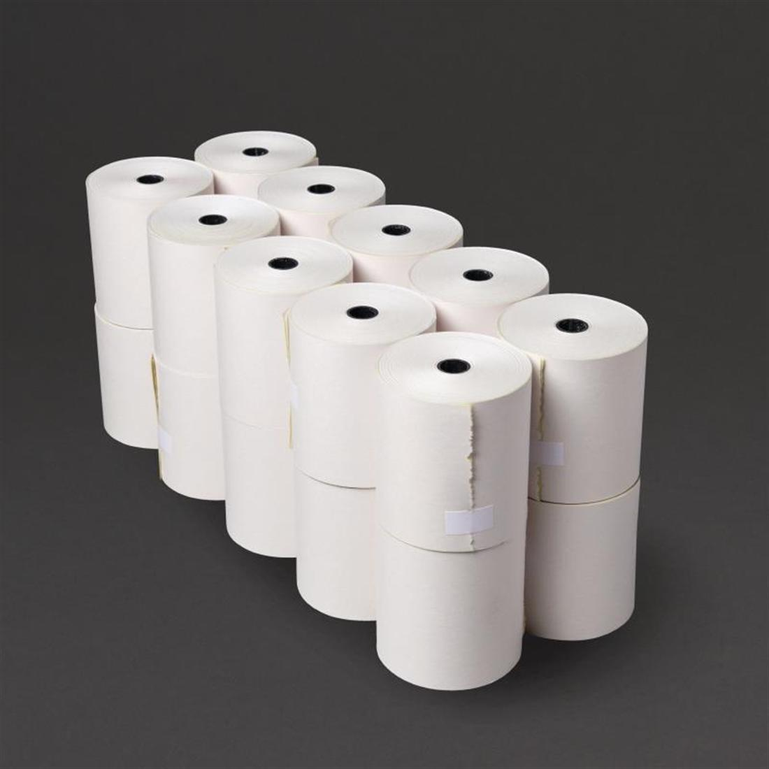Fiesta Non-Thermal 2ply White and Yellow Till Roll 76mm x 70mm
