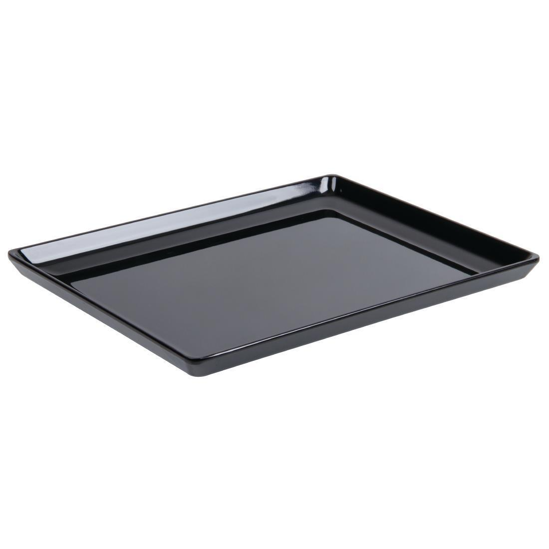 APS Float Melamine Tray Black GN 1/1 - Each - GF075