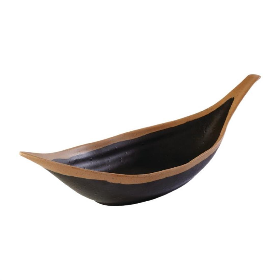 APS Crocker Leaf Bowl Brown. 305mm length - Each - HC734