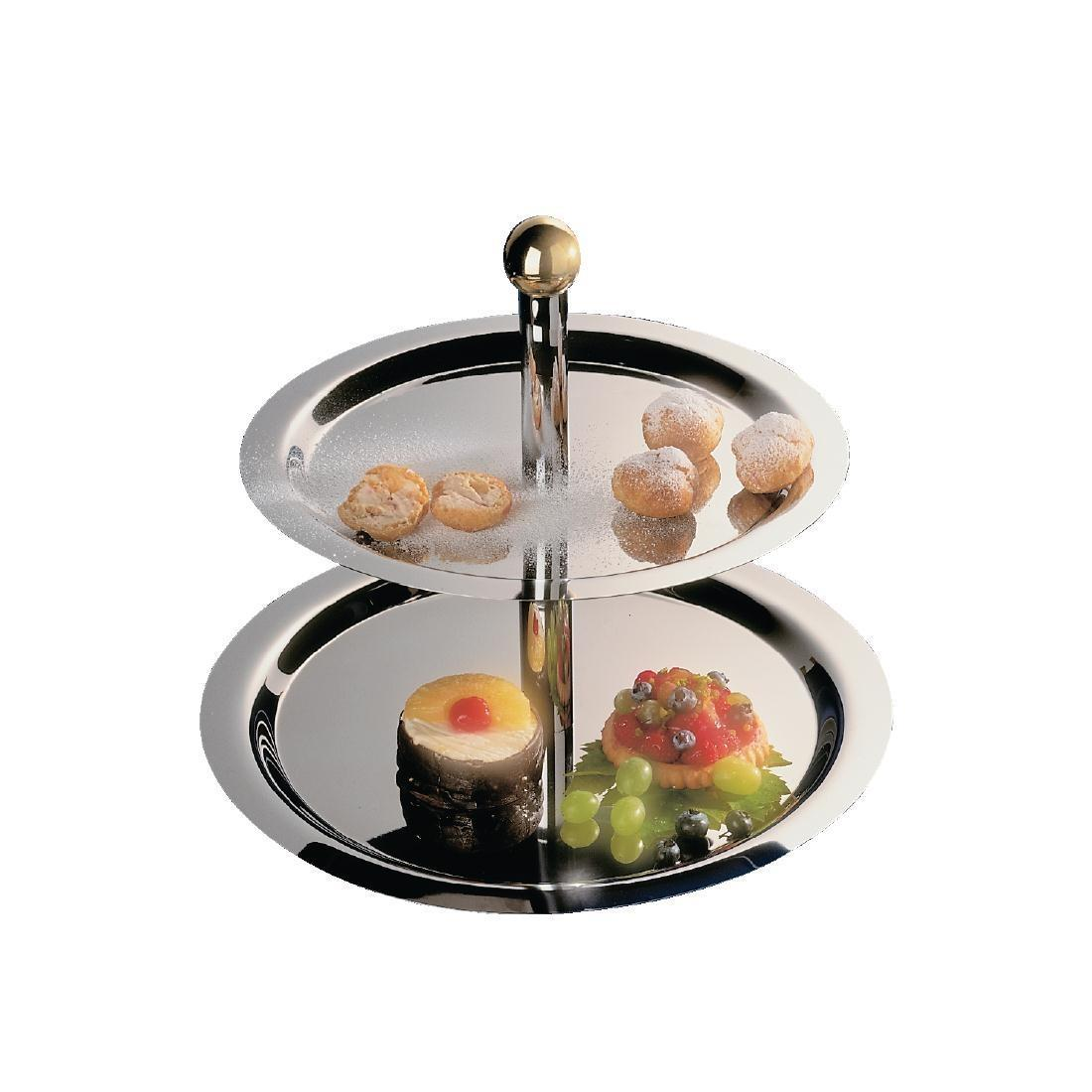 Stainless Steel 2 Tier Afternoon Tea Stand - Each - S025