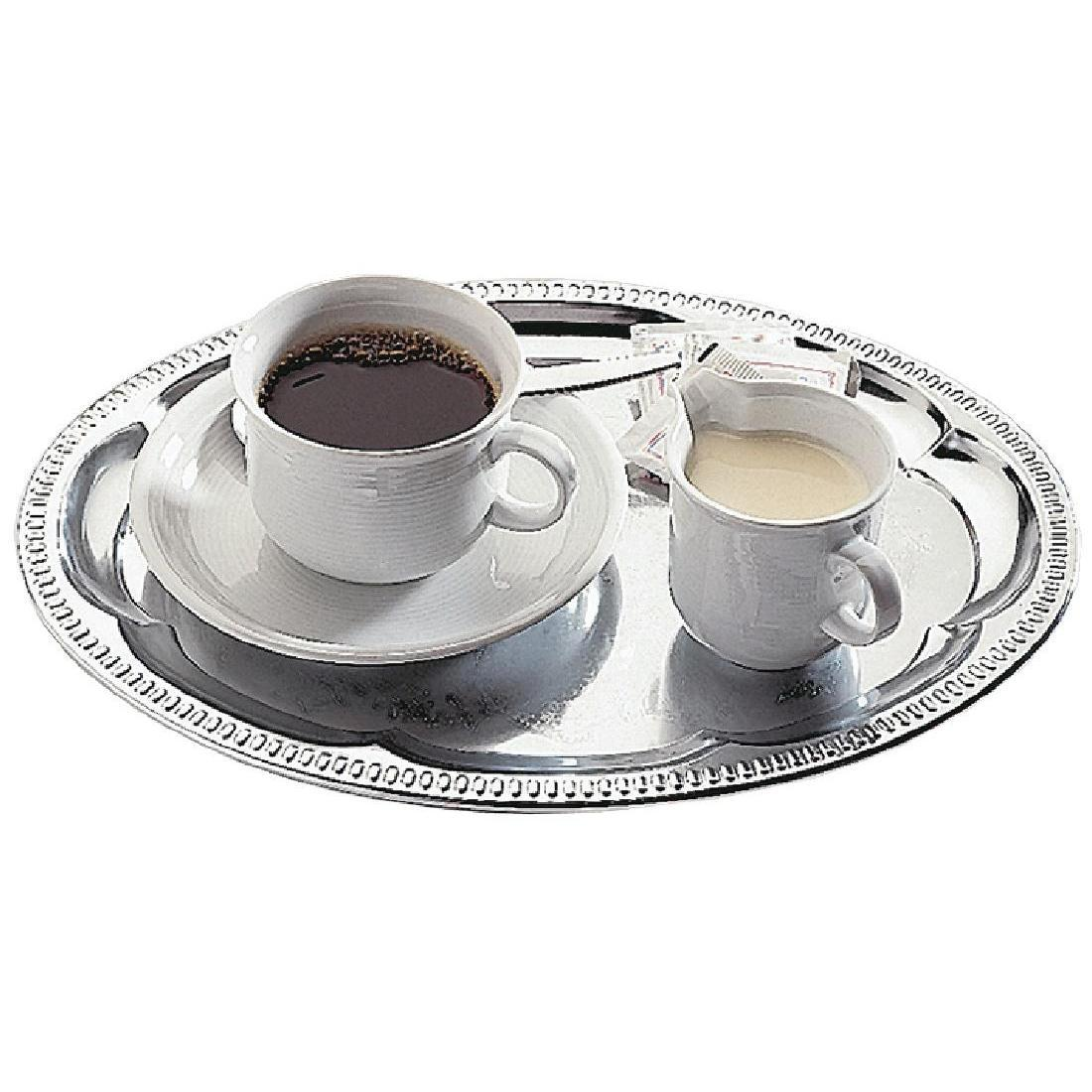 APS Chrome-Plated Stainless Steel Oval Tea Tray 300mm - Each - T765