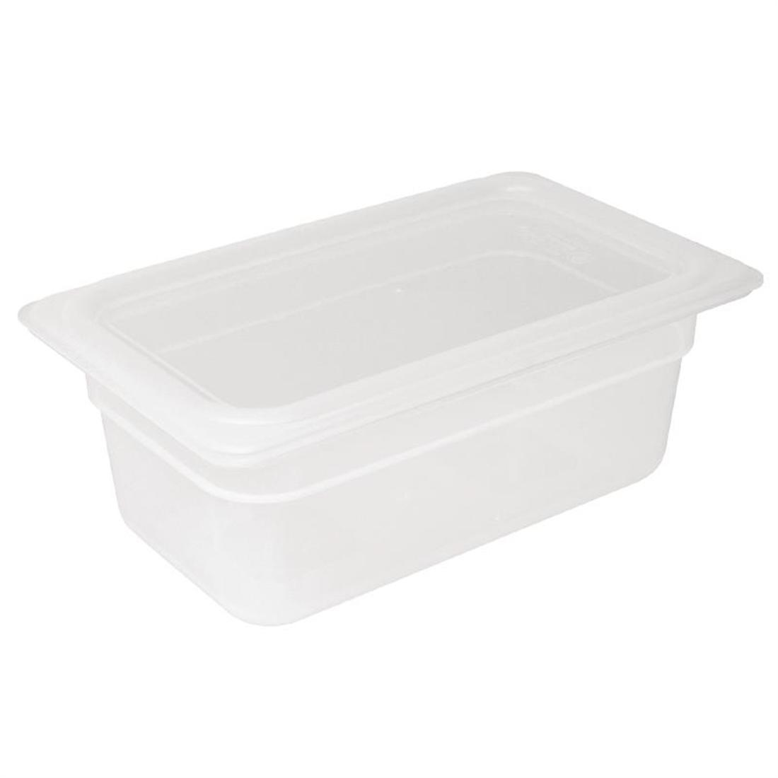 Vogue Polypropylene 1/4 Gastronorm Container with Lid 100mm - Pack of 4 - GJ523