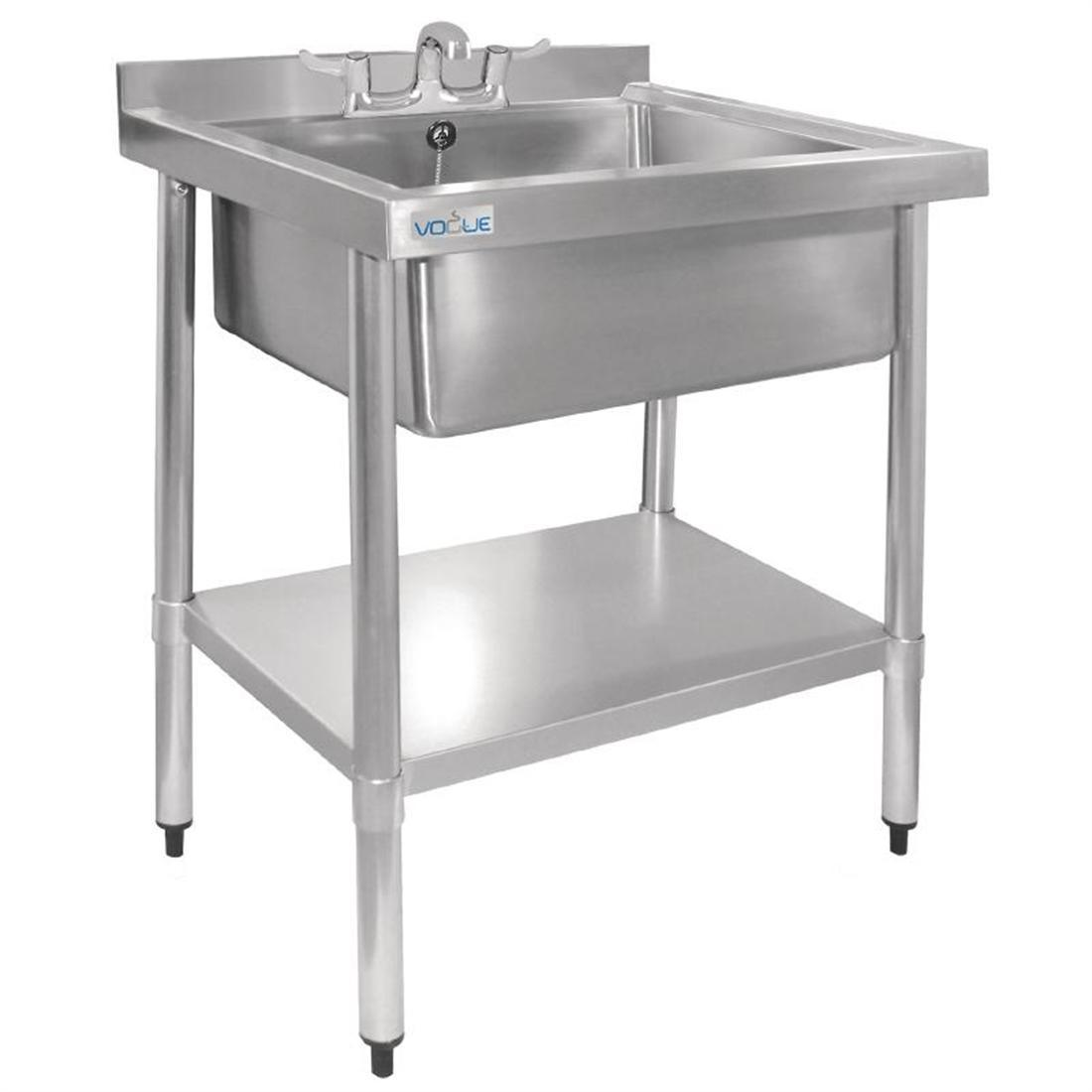 Vogue Stainless Steel Midi Pot Wash Sink with Undershelf - Each - GJ537