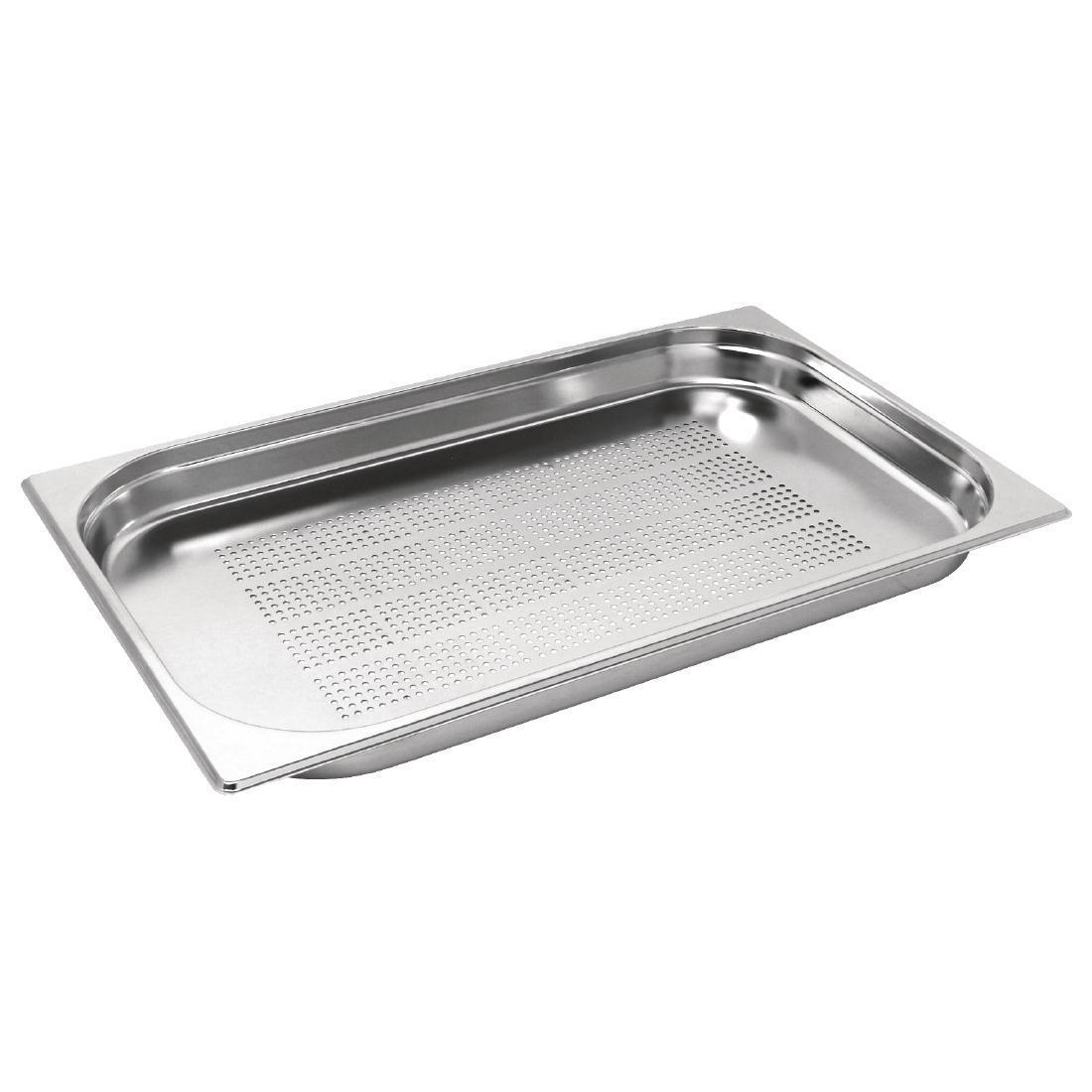 Vogue Stainless Steel Perforated 1/1 Gastronorm Pan 40mm - K839