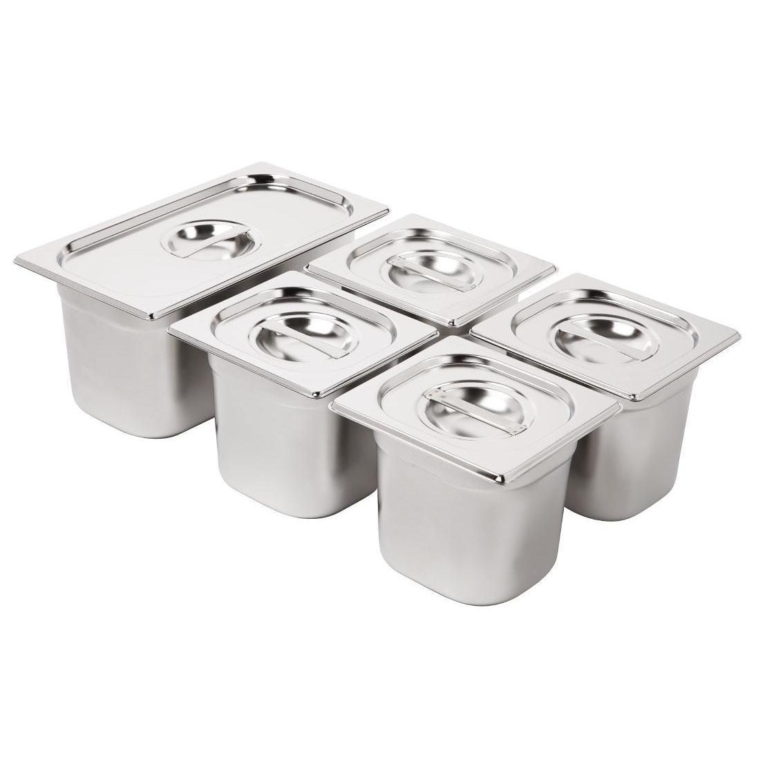 Vogue Stainless Steel Gastronorm Pan Set 1/3 and 4 x 1/6 with Lids - SA246