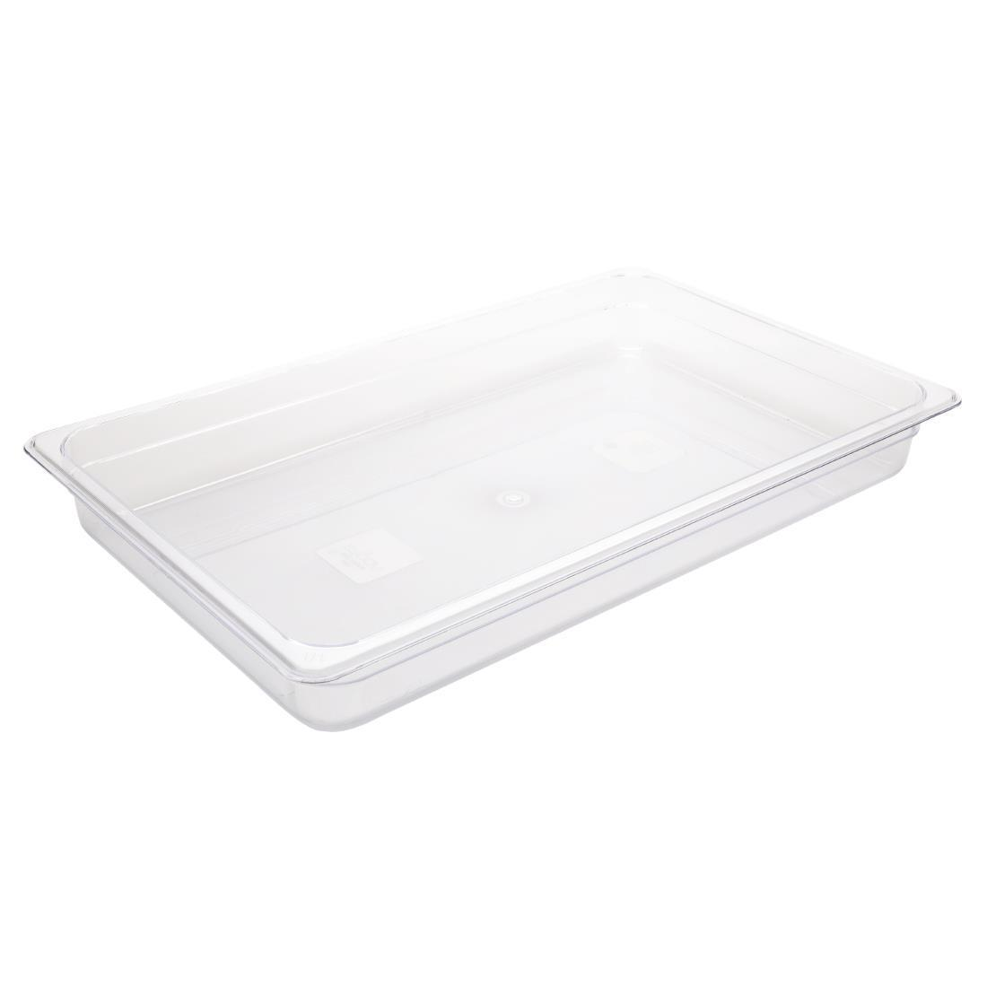 Vogue Polycarbonate 1/1 Gastronorm Container 65mm Clear - U224