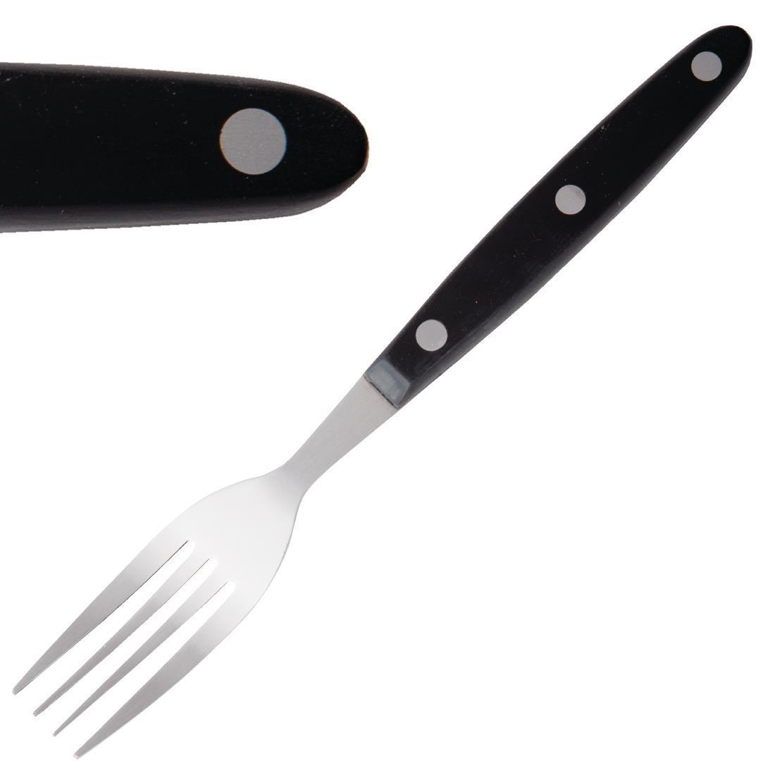 Olympia Steak Forks Black Handle
