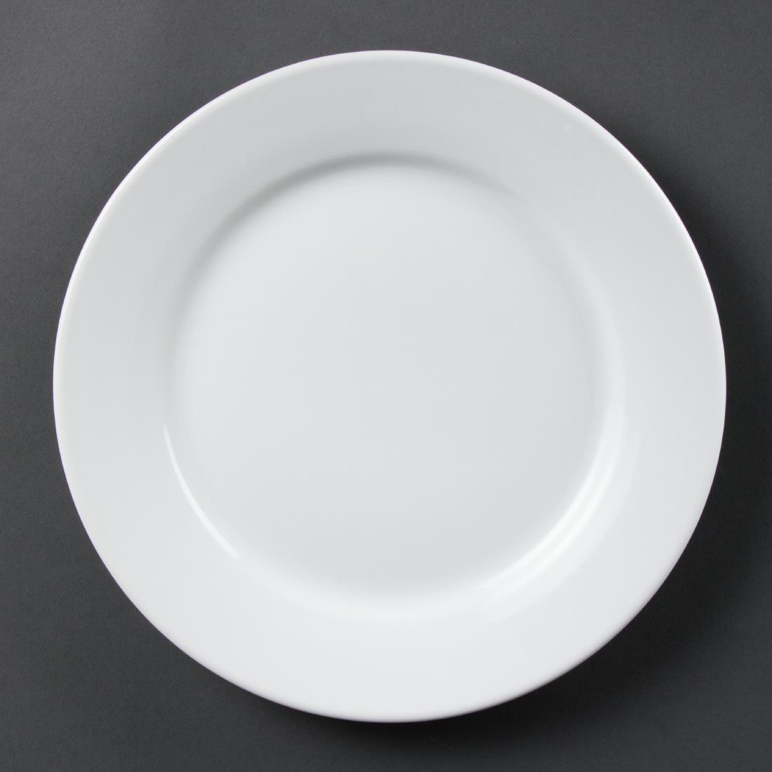 Olympia Whiteware Wide Rimmed Plates 250mm