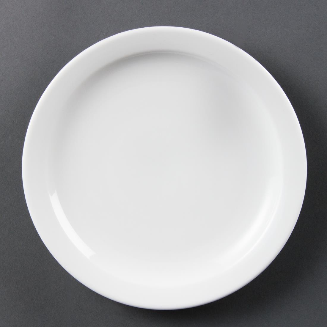 Olympia Whiteware Narrow Rimmed Plates 202mm