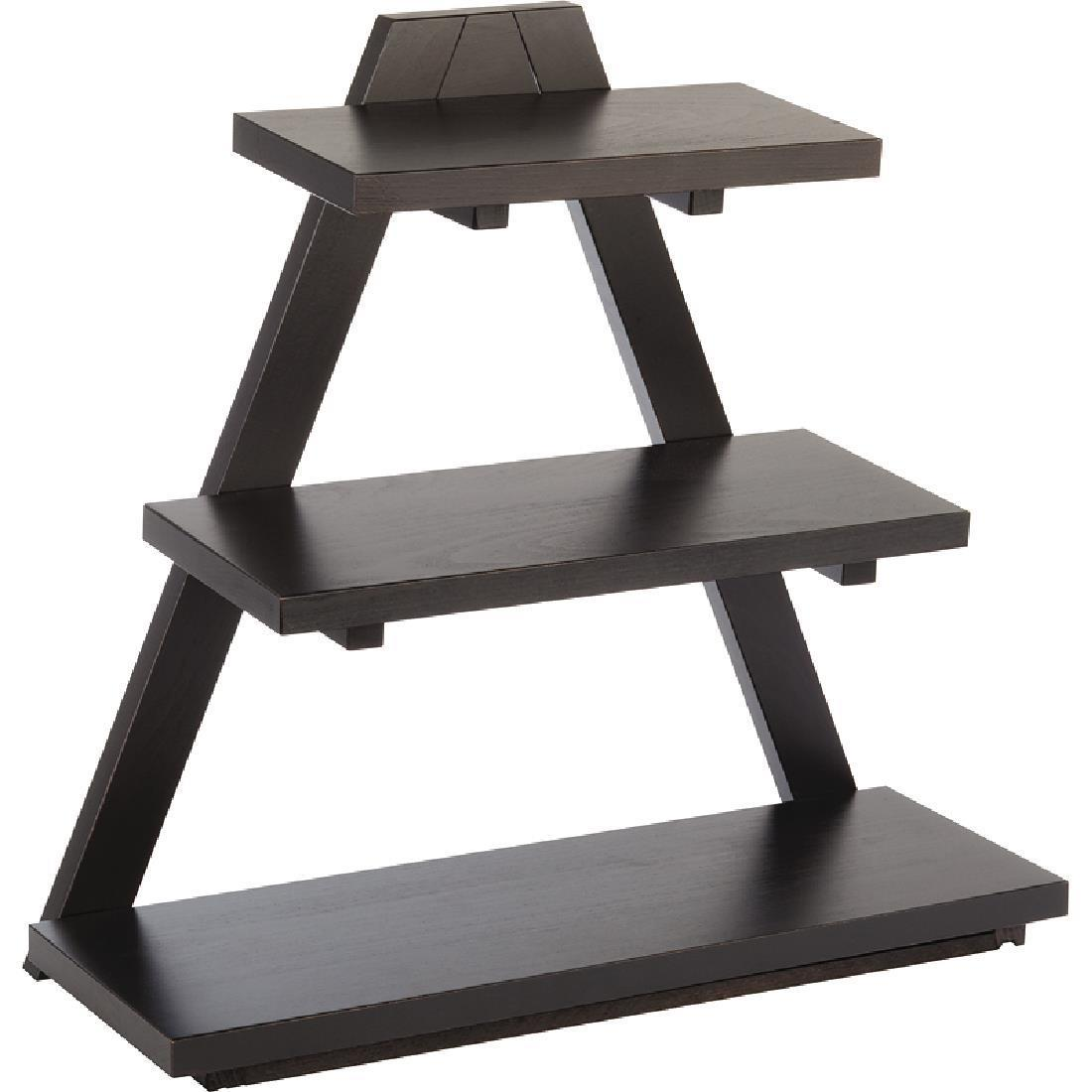 APS Triangle Wooden Buffet Stand Black - Each - GK818