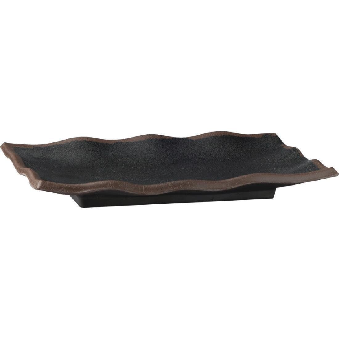 APS Marone Melamine Wavy Tray Black 225x 150mm - Each - GK838