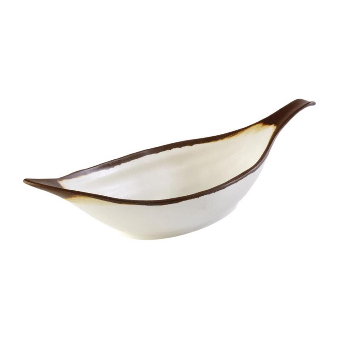 APS Crocker Leaf Bowl Cream. 420mm length - Each - HC735
