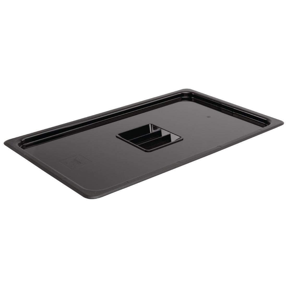 Vogue Polycarbonate 1/1 Gastronorm Lid Black - U474