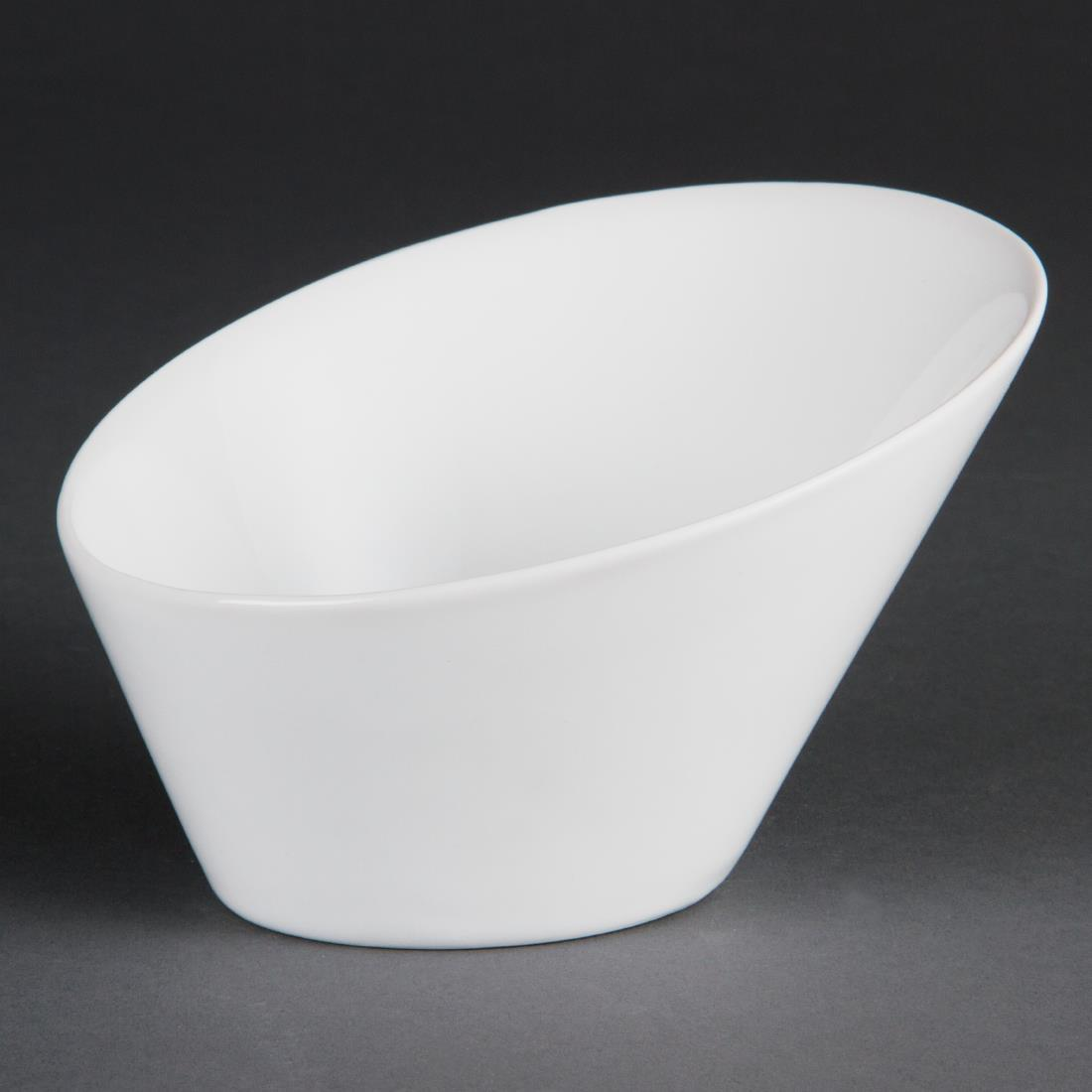 Olympia Whiteware Oval Sloping Bowls  180(W)x200(L)mm