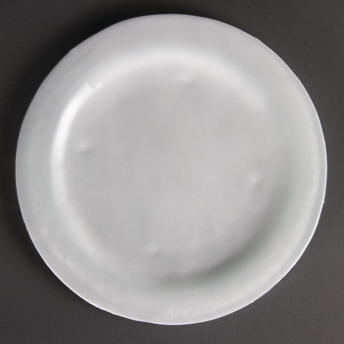 Olympia Round Glass Plates Frosted White 270mm