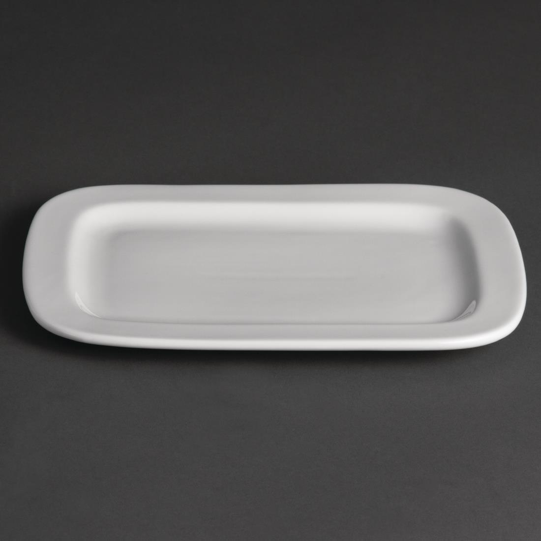 Olympia Whiteware Rounded Rectangular Plates 230mm