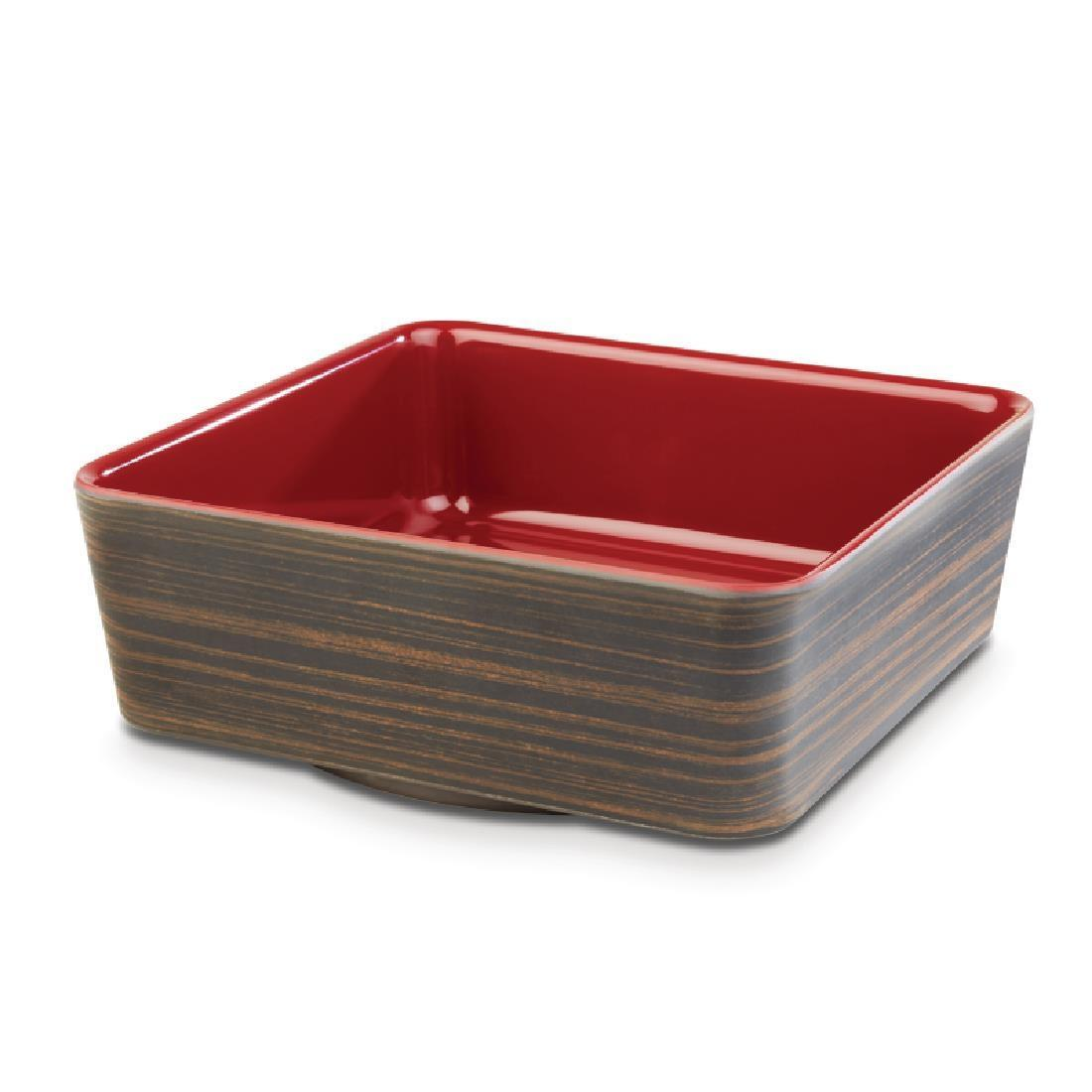 APS+ Melamine Square Bowl Oak and Red 1.5 Ltr - Each - CW693