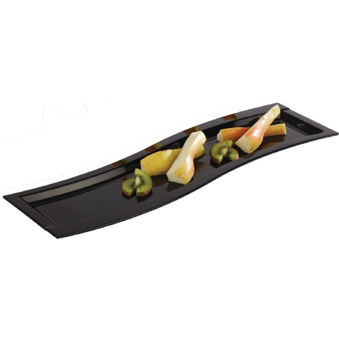 APS Wave Melamine Platter Black GN 2/4 - Each - GK829