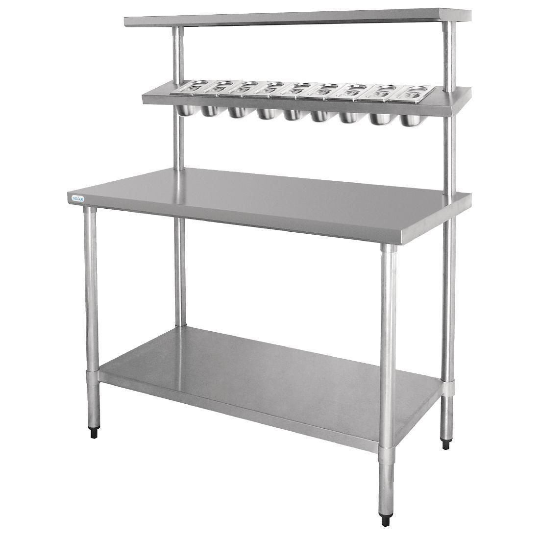 Vogue Stainless Steel Prep Station with Gantry Large - Each - CB909