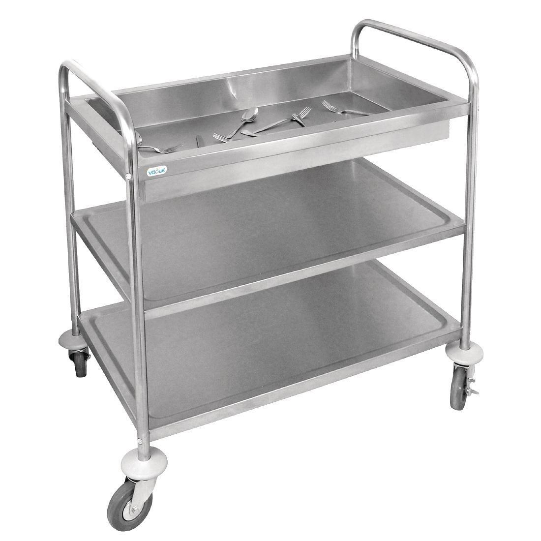 Vogue Stainless Steel 3 Tier Deep Tray Clearing Trolley - Each - CC365