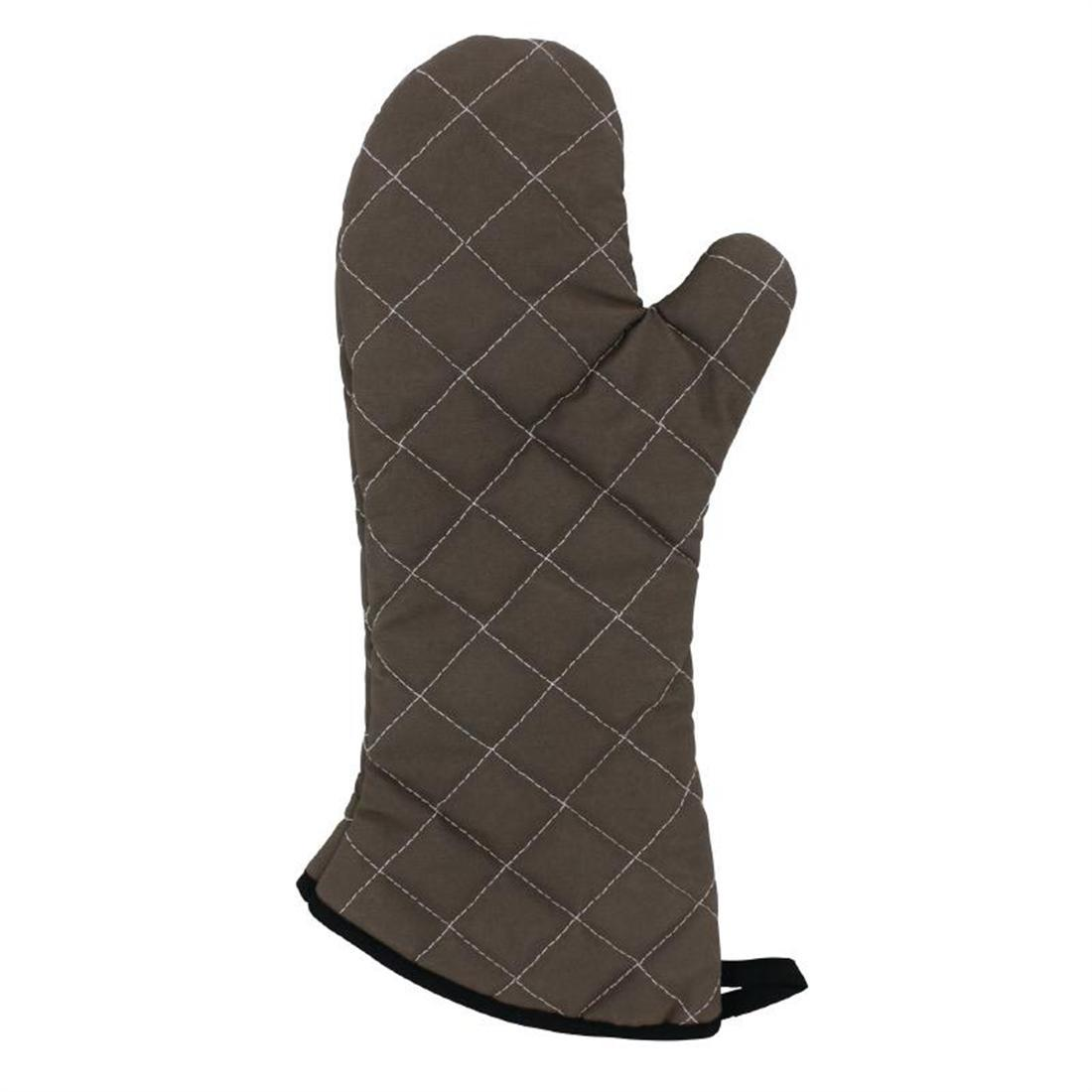 "Vogue Flame Retardant Tan Oven Mitt 17"" - Each - CL583"