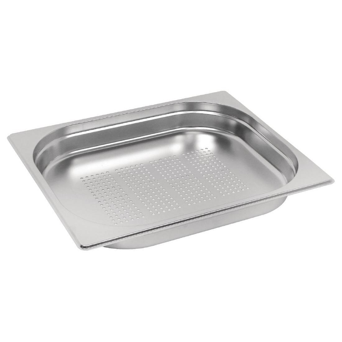Vogue Stainless Steel Perforated 1/2 Gastronorm Pan 40mm - Each - E698