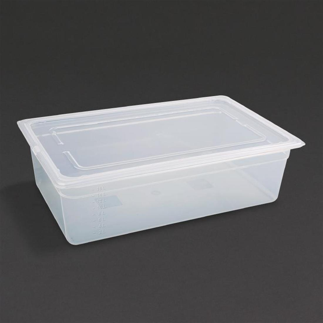 Vogue Polypropylene 1/1 Gastronorm Container with Lid 150mm - Pack of 2 - GJ512
