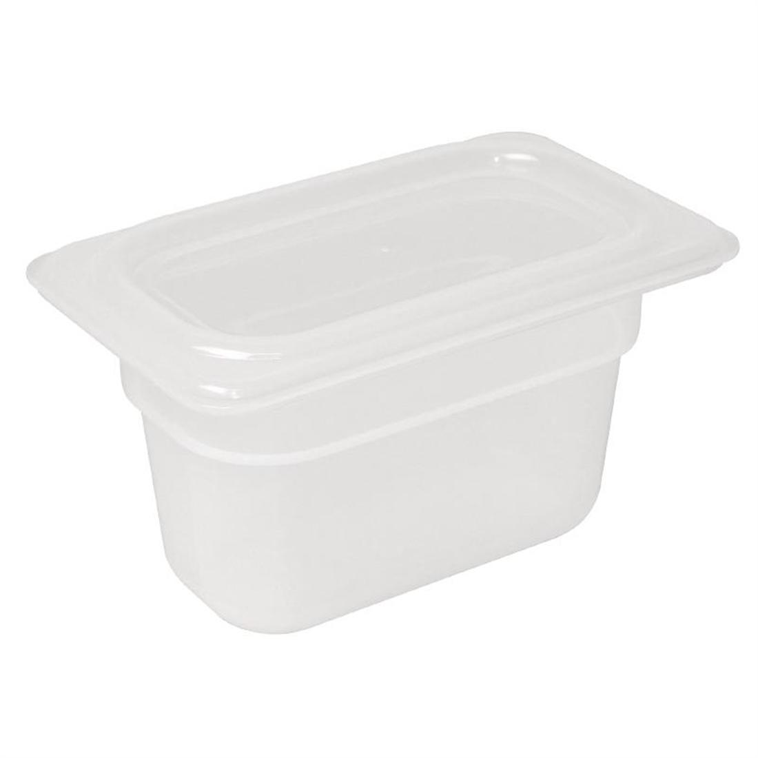 Vogue Polypropylene 1/9 Gastronorm Container with Lid 100mm - Pack of 4 - GJ529