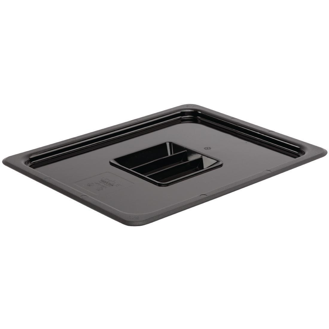 Vogue Polycarbonate 1/2 Gastronorm Lid Black - U475