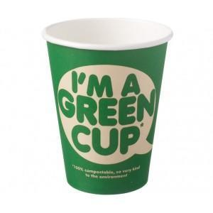 ???I??m a Green Cup?? Compostable Hot Cups Single Wall 12oz