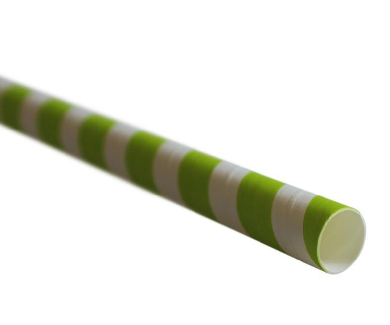 Green Striped Compostable Paper Straw Medium Bore 197x8mm