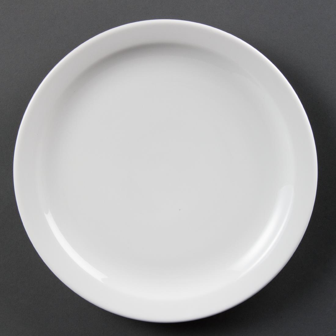 Olympia Whiteware Narrow Rimmed Plates 250mm