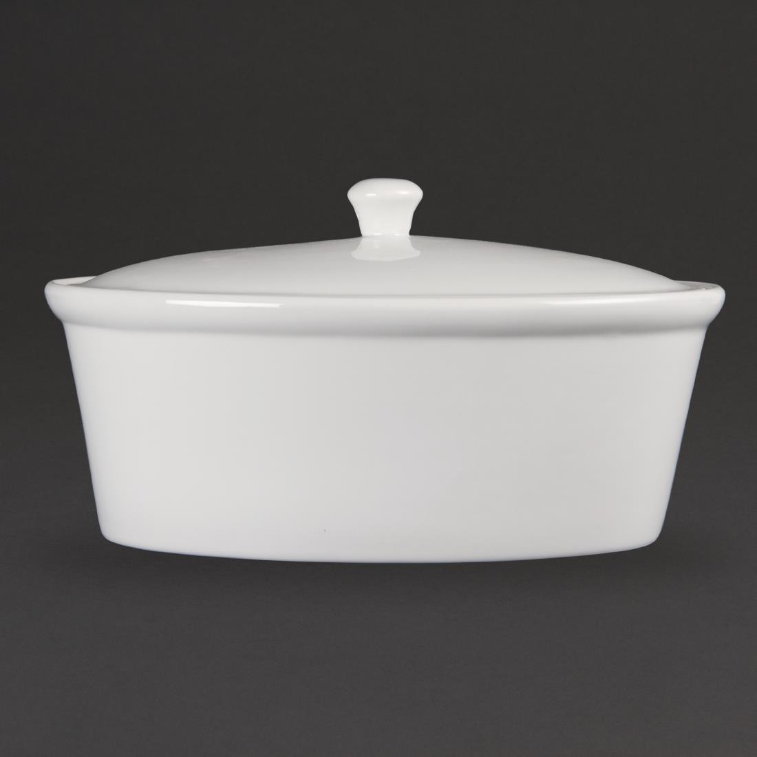 Olympia Whiteware Oval Casserole Pot 3.2Ltr