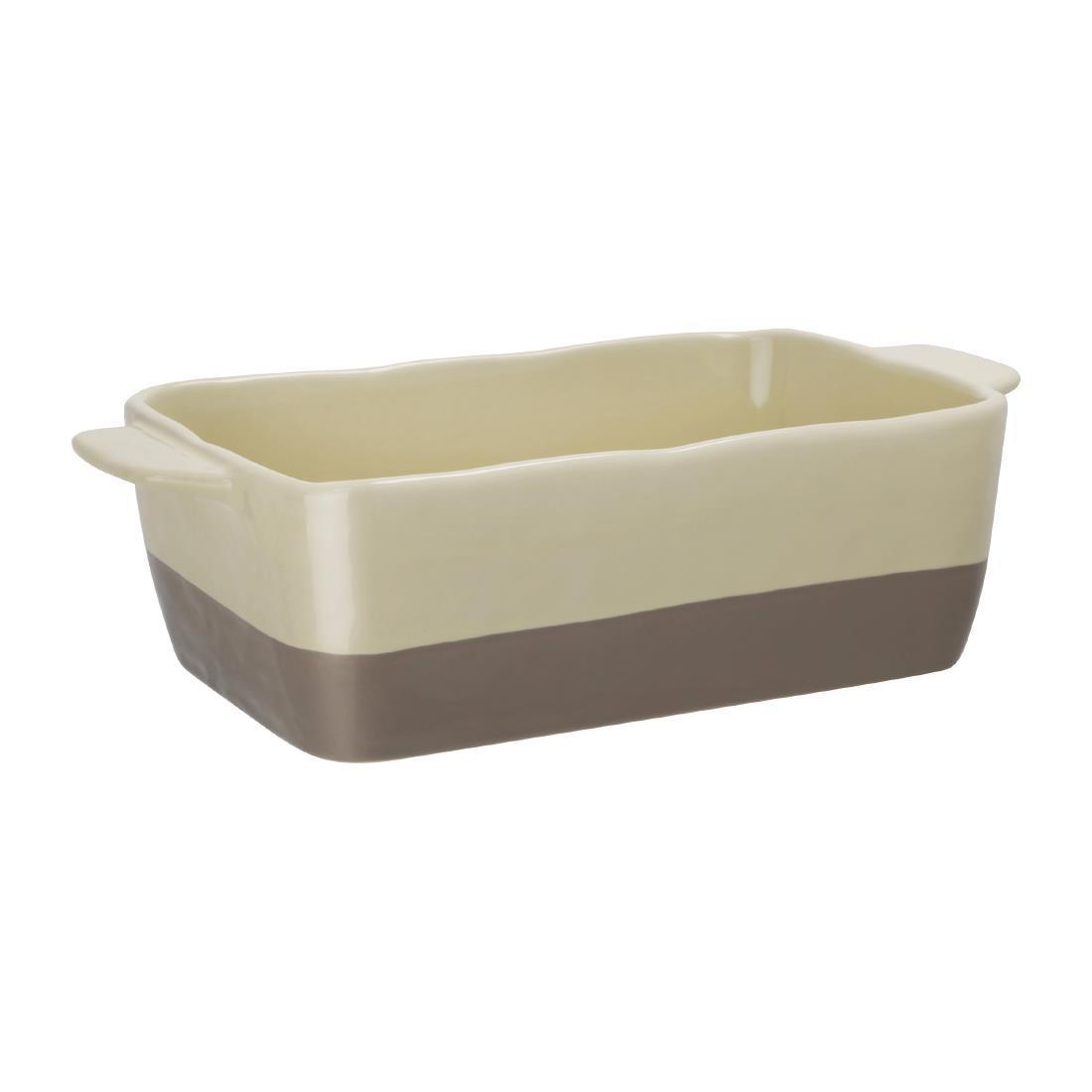 Olympia Cream And Taupe Ceramic Roasting Dish ???GN