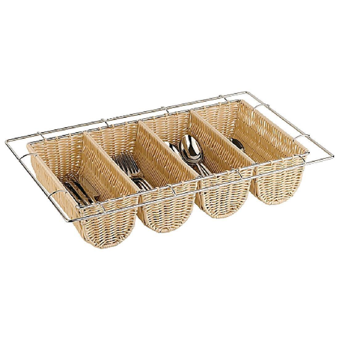 APS Rattan Cutlery Dispenser - Each - CB674