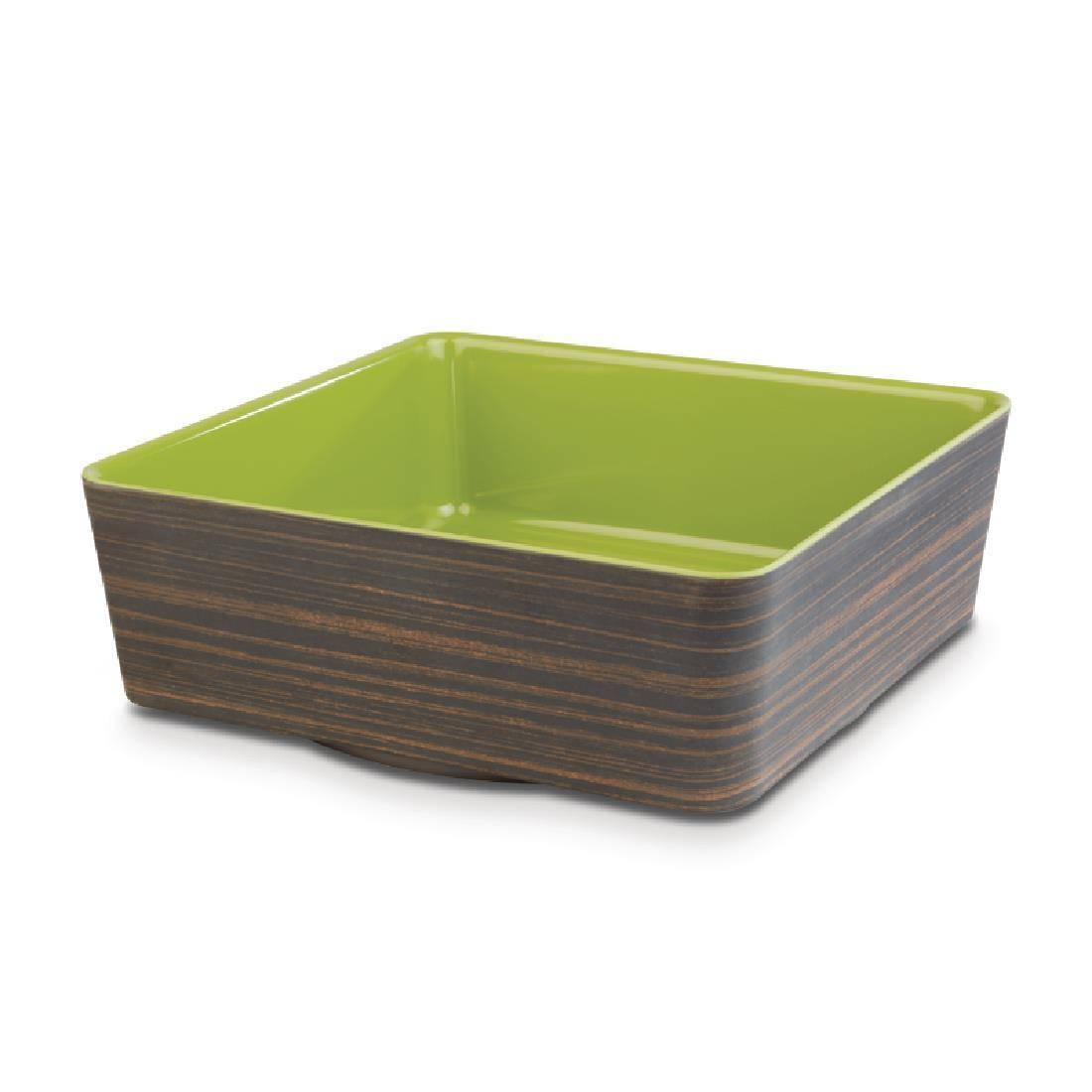 APS+ Melamine Square Bowl Oak and Green 4 Ltr - Each - CW694