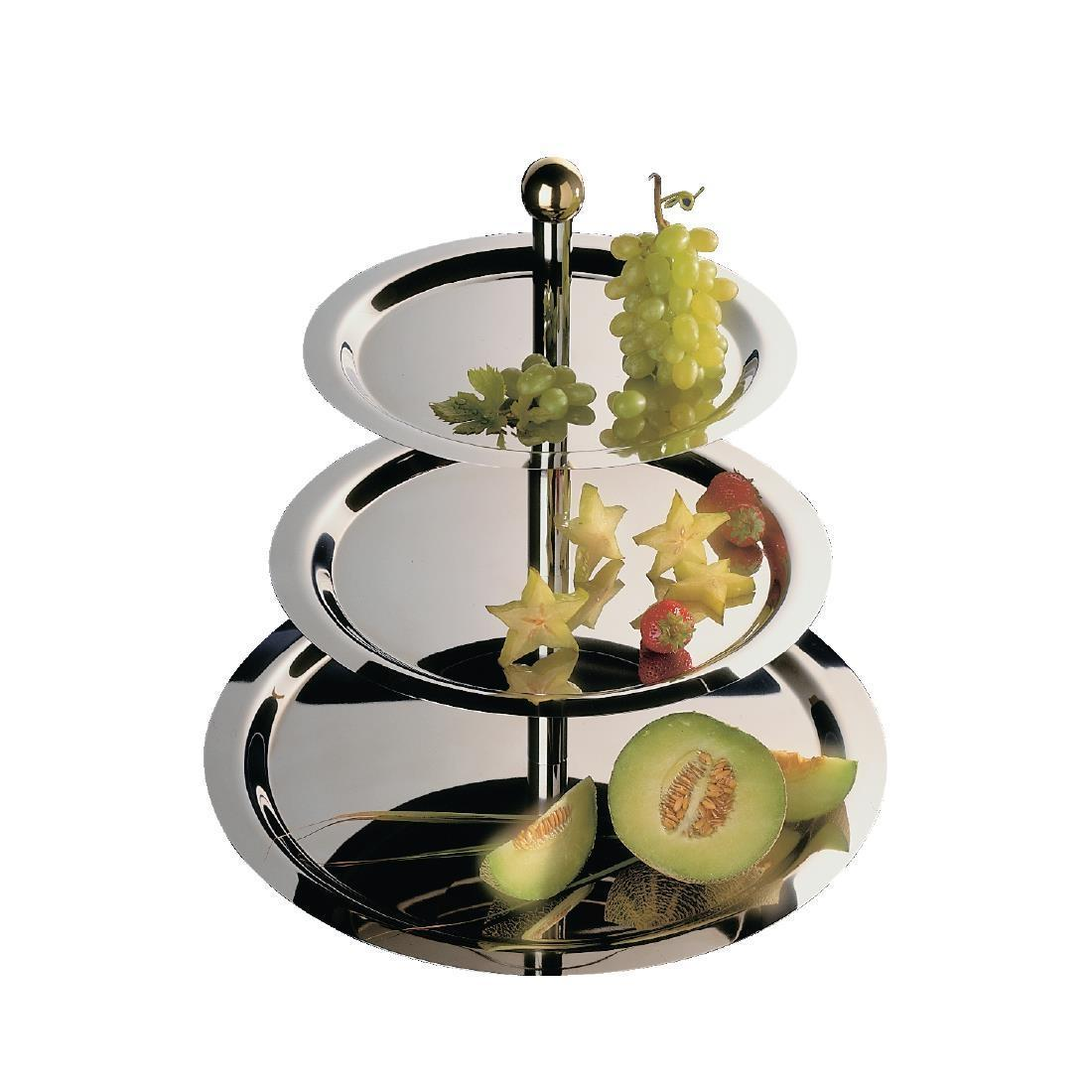 Stainless Steel 3 Tier Afternoon Tea Stand - Each - S024