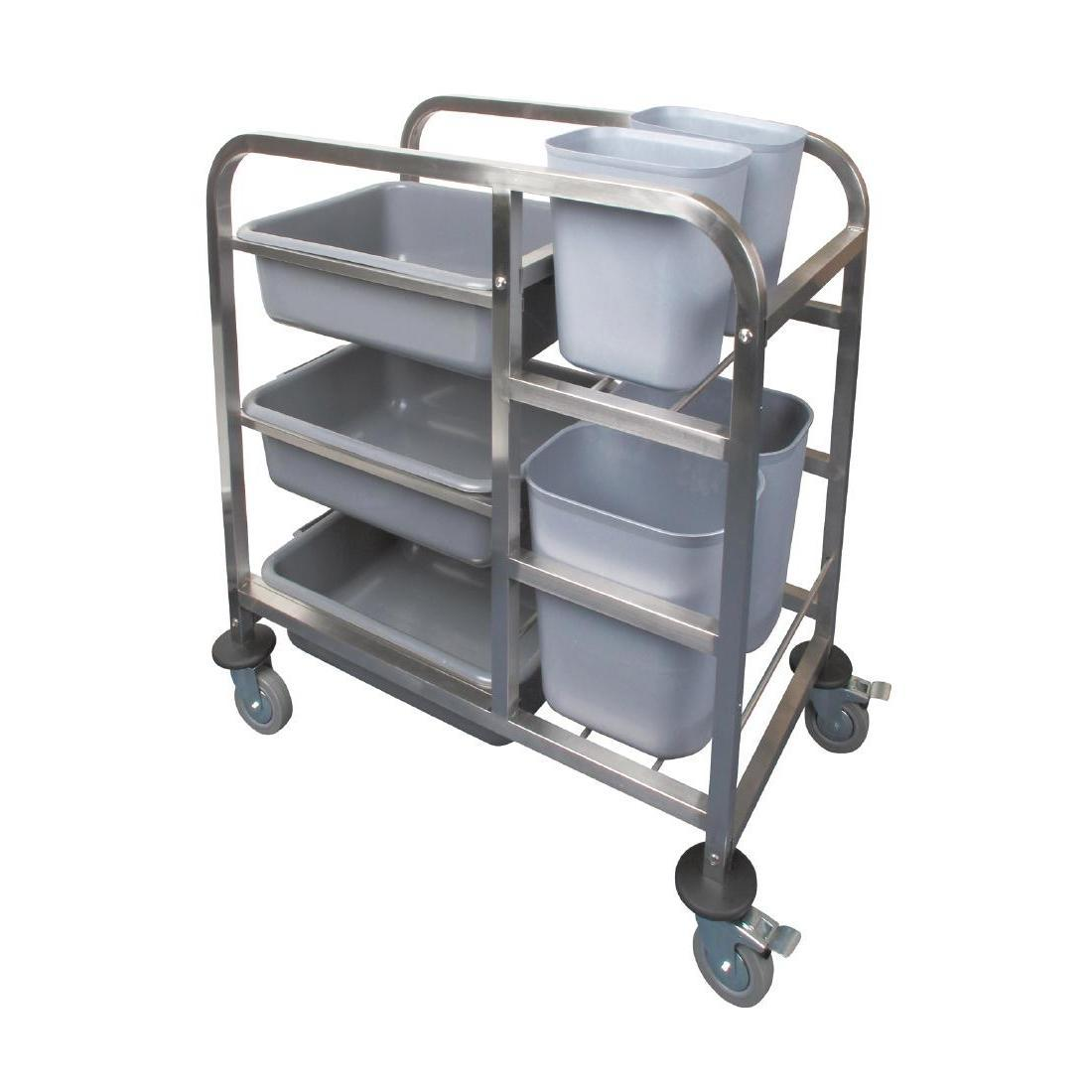 Vogue Stainless Steel Bussing Trolley - Each - DK738