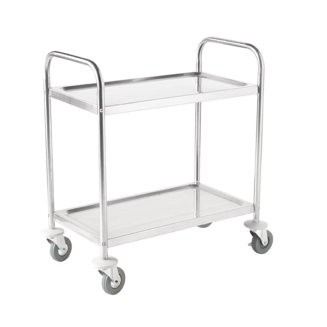 Vogue Stainless Steel 2 Tier Clearing Trolley Large - Each - F998
